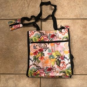 Handbags - Floral butterfly print colorful tote bag